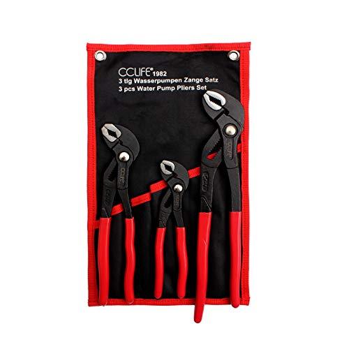 CCLIFE 3pieza alicates de cremallera 175-250 - 300 mm Pico de loro Tenazas Ajustables Cobra