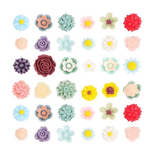 Holibanna 100 Piezas Pequeñas Flores de Resina Flatbacks Cabujones Decoración Flor Suelta Joyería para Teléfono DIY Pinza para El Cabello Diadema Scrapbooking (Paquete Mixto)