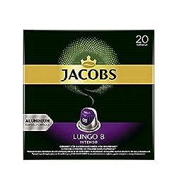 Jacobs Kaffeekapseln Lungo Intenso, Intensität 8 von 12, 20 Nespresso®* kompatible Kapseln für 20
