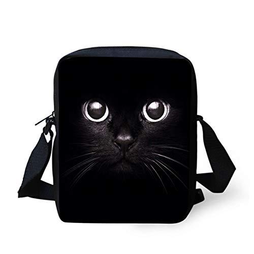 Coloranimal Black Cats Messenger Umhängetasche ein kleines Mädchen Junge Umhängetasche Kleine Umhängetasche Handy Aufbewahrungsorganisator