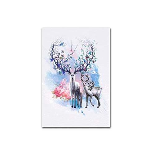 WSWWYPoster Animale Piccolo Fresco Alce acquarello Dipinto su Tela Foto murale per Soggiorno Decorazione Domestica A 30x40cm Senza Cornice