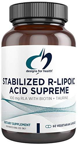 Price comparison product image Designs for Health Stabilized R-Lipoic Acid Supreme - 100mg RLA Supplement with Biotin + Taurine - Non-GMO,  Gluten Free (60 Capsules)