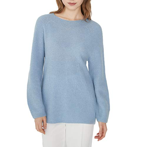 Women's Whole Garment Long Length Cashmere Pullover Sweater Long Sleeve (Blue, M)