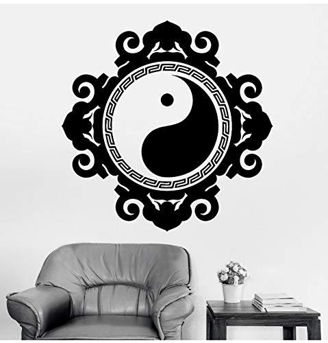 Lkfqjd Vinyle Autocollant Mural Bouddha Yin Yang Floral Religion Peinture Murale Art Décoration Murale À La Maison Yoga Sticker 57 * 57 Cm