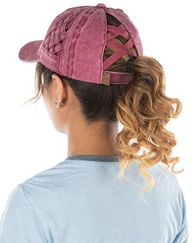 Criss Cross Hat Womens Baseball Cap Distressed Ponytail - Berry Basket Weave