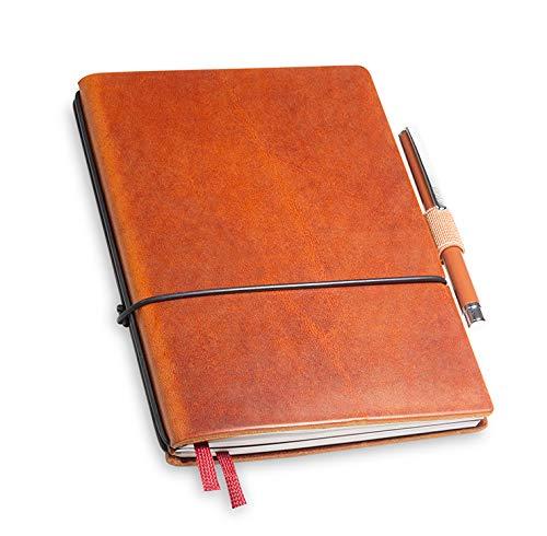 A6 revolutionäres X17-Notizbuch! Belgisches Leder braun brandy, mit Geschenkbox; Innen: 2x Notizen(blanko,kariert), Stifthalter, Doppeltasche, Mini Stift; austauschbar,17 Jahre Garantie*