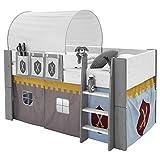 Steens For Kids Vorhangset für Kinderbett, Hochbett, 5 tlg, 176 x 75 x 91 cm (B/H/T), Baumwolle, Grau - 4