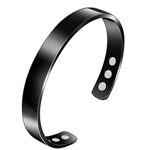 Bracelet, Pure Titanium Mens Bracelet, Therapy Bangle for Arthritis Pain Relief, Stylish Bracelet for Women Men, Cuff Bangle, Small, Black