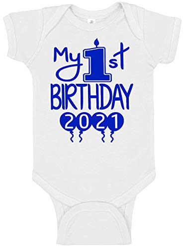 Aiden's Corner Handmade 1st Birthday Baby Clothes - Baby Boy My First Birthday Bodysuits & Shirts (18 Months, 2021 Royal White)