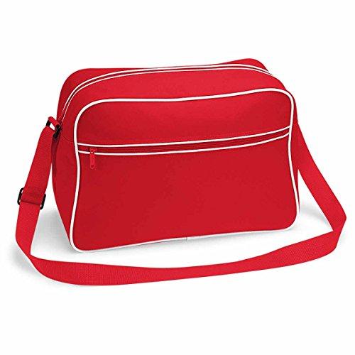 BagBase Retro Shoulder Bag, Classic Red / White, ca. 40 x 28 x 18 cm