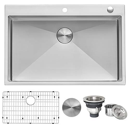 Ruvati 33 x 22 inch Drop-in Tight Radius 16 Gauge Stainless Steel Topmount Kitchen Sink Single Bowl...