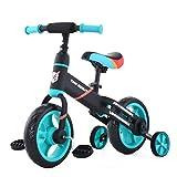 ZavoFly Vélo d'équilibre de 12 po pour Enfants de 2, 3, 4 et 5 Ans, garçon, vélo de Marche pour Tout-Petit 4 en 1 avec Roues et pédales d'entraînement, Assemblage Facile … (JL101, Bleu)