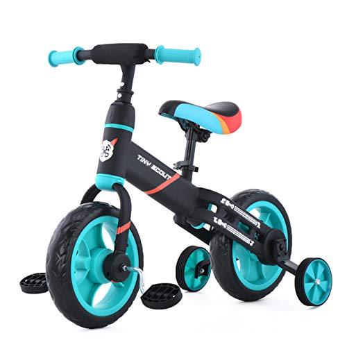 ZavoFly Balance bike da 12 '' per bambini da 2, 3, 4, 5 anni, bambina, bicicletta da passeggio per bambini 4 in 1 con ruote e pedali da allenamento, montaggio facile (JL102, blu)