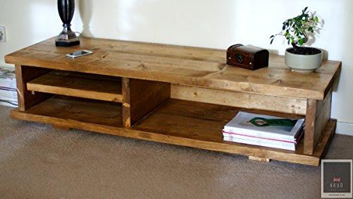 Krud ~ K7–140cm–colori stile vittoriano–TV stand ~ ~ fatto a mano in legno massiccio pino massello Scaffold ~ 24~ ~ ~ spessore ~ ~ ~ Country porta TV rustico industriale tavolino da salotto