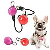 GUANGZHOU Collar de perro con luz LED, recargable por USB, colgante luminoso para mascotas, mosquetón con clip para perro, colgante esférico antipérdida, reutilizable (2 piezas) (rojo y rosa)