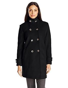 Fleet Street Ltd Women s Classic Double Breasted Boiled Wool Coat Black Medium