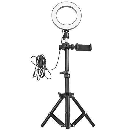 Anel de luz Yarnow para selfie com suporte de tripé para celular, câmera de anel para vlog Live Stream maquiagem autoretrato acessórios de tiro (50 cm suporte 16 cm de luz de preenchimento)