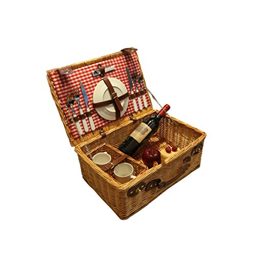 Handmade Wicker Picnic Basket Outdoor with Stainless Steel Tableware And Ceramic Tableware Checked Pattern Lining Picnic Set (Color : Light wood color)