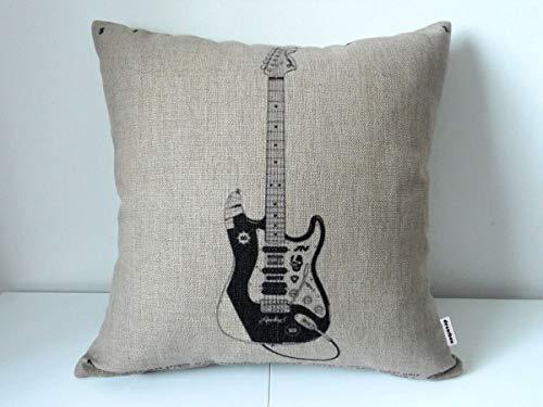 Decorbox Cotton Linen Square Decorative Throw Pillow Case Cushion Cover Electric Guitar 18 'X18 '