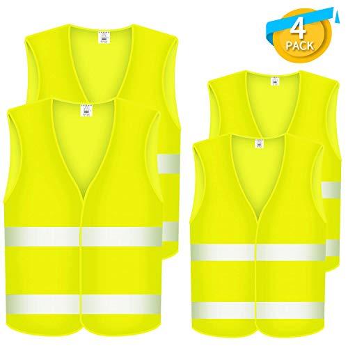 Fesoar Lot de 4 Gilets de Sécurité réfléchissants pour la sécurité des conducteurs Automobiles, conducteurs et Travailleurs avec Un Risque élevé Lavable, Polyester, Jaune Fluo (121cm, 139cm)