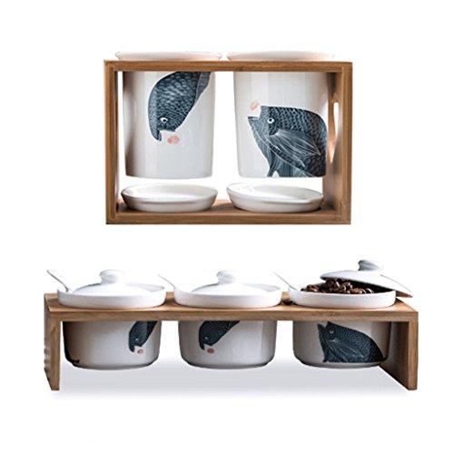 Saleros y pimenteros Dosificadores Jarra de Especias casera Creativa Tarro de Especias de Cocina Caja de Sal de cerámica (Color : A)