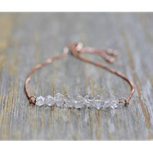 Minimalist Herkimer Diamond Gemstone Bracelet- Adjustable Bolo Rose Gold Chain-April Birthstone