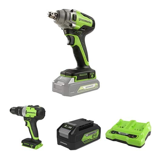 Greenworks Tools Llave de impacto inalámbrica de batería + Taladro/Atornillador GD24DD65 + Batería G24B4 2ª generación + Batería de doble ranura Cargador universal G24X2C