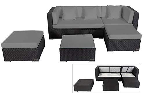 OUTFLEXX Loungemöbel-Set, schwarz, Polyrattan, 5 Personen, wasserfeste Kissenbox, inkl. Kaffeetisch