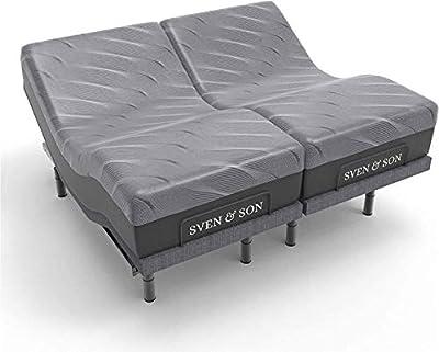 """Sven & Son Split King Adjustable Bed Base Frame Platinum (Individual Head Tilt & Lumbar) + 14"""" Hybrid Cool Gel Memory Foam Mattress and Adjustable Bed (Split King)"""