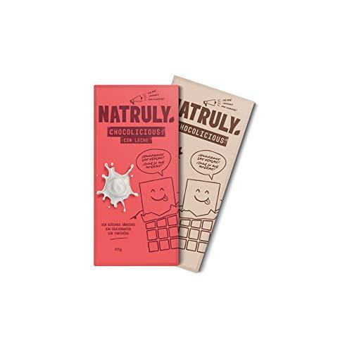 NATRULY Tableta de Chocolate sin Azúcar y sin Edulcorantes | Endulzado con Fibra de Achicoria -Pack 1 Chocolate con Leche + 1 Cacao 72%