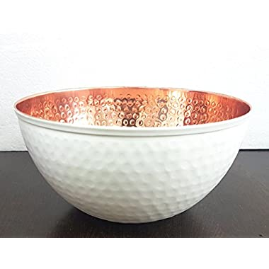 Copper and White Hammered Mixing Bowl, 100% Pure Heavy Gauge - Multipurpose Use of Antique Copper Serving Bowl For Candy, Salad, Egg Beating - Decorative Copper Bowl For Your Kitchen 7.6  by Alchemade