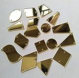 50 piezas de espejo de cristal dorado con diamantes de imitación irregulares de acrílico para coser en piedras de cristal (espejo dorado, formas mezcladas)