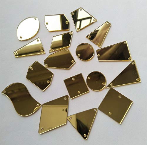 50 piezas de espejo de cristal dorado con diamantes de imitación de acrílico irregulares para coser en piedras de cristal (espejo dorado, formas de mezcla)