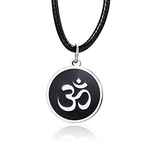 Yiffshunl Collar Collar Moda Color Plata Acero Inoxidable AUM Om Ohm Hinduismo Budista Hindú Yoga Colgante Collar Amuleto Regalo de la Suerte Collar Colgante Cadena para Mujeres Hombres