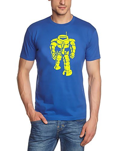 Coole-Fun-T-Shirts Herren T-Shirt Sheldon Robot Big Bang Theory!, blau-gelb, L, BK104
