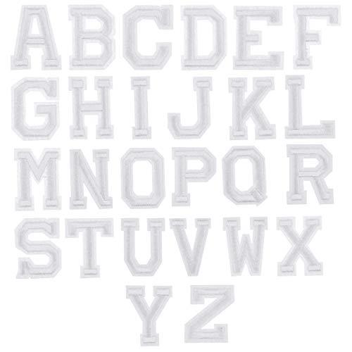 26 Pezzi Bianca Lettere Toppe Termoadesive, A-Z dell'alfabeto Ricamate Tessuto Patch Applique, Toppe da Cucire Stirare, Cucite su Patch Adesivi per Vestiti Giacche Borse Riparazione Decorativa