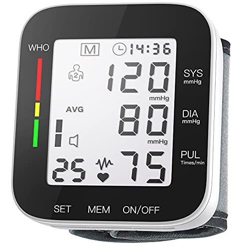 Blood Pressure Monitor Automatic Large LCD Display Adjustable Wrist Cuff Automatic Dual 99 Reading Memory Automatic Digital BP Machine for Home Use