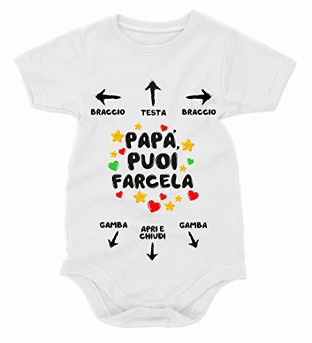 bubbleshirt Body Divertente Neonato Festa del papà puoi farcela - Istruzioni per Il papà - Idea Regalo