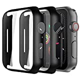 Alinsea Screen Protector for Apple Watch 44mm Series 4/5/6/ SE Tempered Glass [2 Pack] [Full Coverage] Bumper Hard Case [with Screen Protector Built-in] Overall Protective Cover-Black