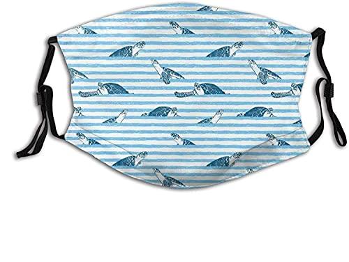 Moda 2 capas lavable Protcetion cubierta reutilizable máscara tortugas y rayas azules impresión abstracta tema acuático Caretta océano animales patrón | con filtro
