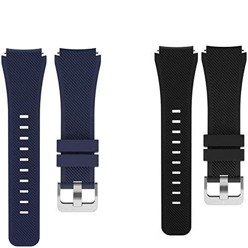 Giaogor Armband Kompatibel Für AGPTEK Smartwatch, Sport Silikon Classic Ersatz Uhrenarmband Für AGPTEK LW11 Smartwatch (2 Pack-b)