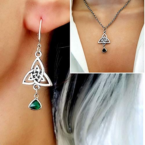 Celtic Triquetra Charm Pendant Necklace and Earrings Set with Emerald Green Stone, Irish Scottish, Celtic Cross Knot Jewelry gift for Women