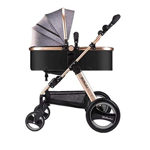 PLDDY Prams 3-in-1 Stroller High Landscape Seated Horizontal Umbrella Portable Folding Bidirectional...