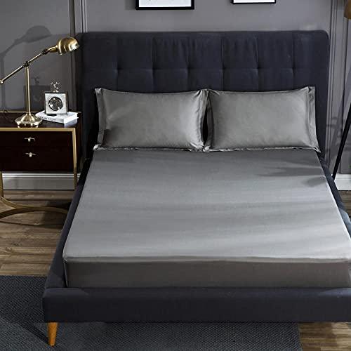 XLMHZP 60 sábanas Ajustables de algodón, Funda de colchón de algodón, Funda Completa, Transpirable, Doble King y Queen, Gray_180 * 200 + 28cm (1pcs)