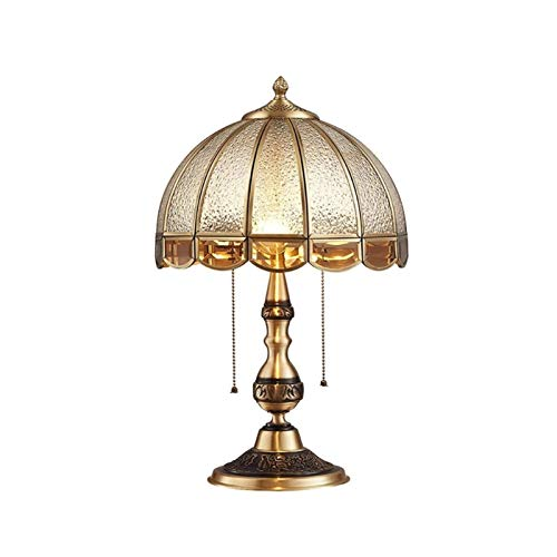 Lámpara de Mesa de Iluminación Decorativa Interior Lámpara de mesa retro de la lámpara de mesa, lámpara de mesa de tracción, soldadura de plata de cristal de diamante Pantalla completa de cobre tallad