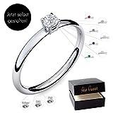 Verlobungsring Silber 925 Weißgold 585 750 PERSONALISIERT + ETUI mit individueller GRAVUR Damen-Ring Heiratsantrag Diamant-Ring Zirkonia...