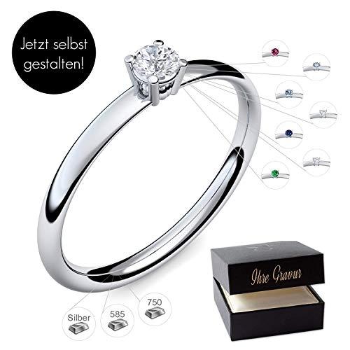 Verlobungsring Silber 925 Weißgold 585 750 PERSONALISIERT + ETUI mit individueller GRAVUR Damen-Ring Heiratsantrag Diamant-Ring Zirkonia Aquamarin Rubin Saphir Brillant Blautopas