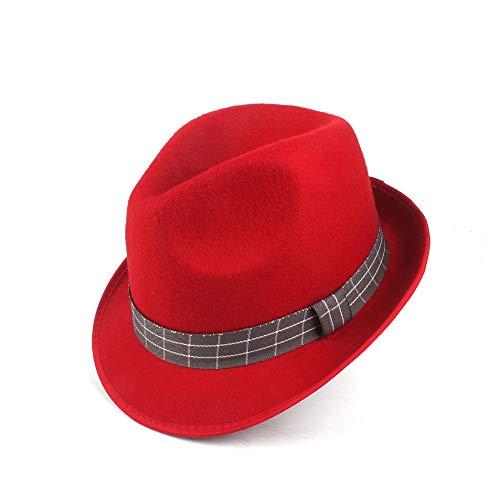 HuiQin Zhang Männermützen für Herbst, Winter, aus Wolle, elegant, für Damen aus Polyester 58CM Rot