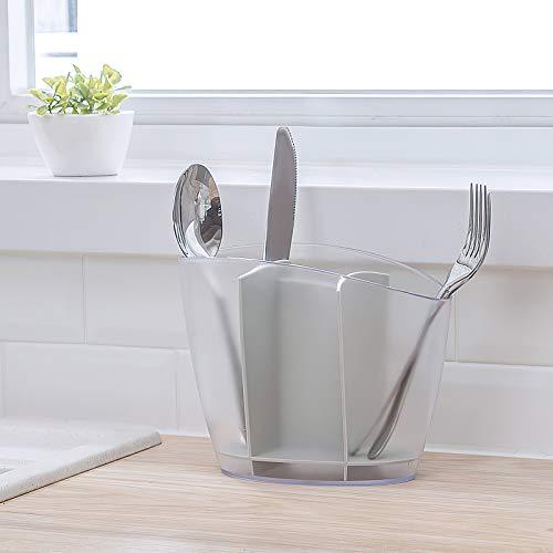 Qisiewell Porta Utensilios de plástico Premium Utensilios de Cocina Caja Gris