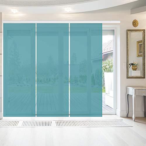 Bestlivings Elena - Panel japonés (3 unidades, 60 x 260 cm), color azul petróleo, cortina corredera transparente, en muchos colores